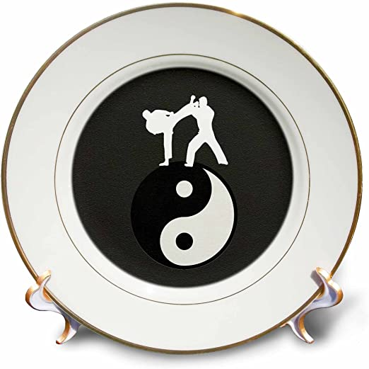 8-Inch 3dRose cp/_180805/_1 Karate Yin-Yang Sign with Men Training Black and White-Porcelain Plate