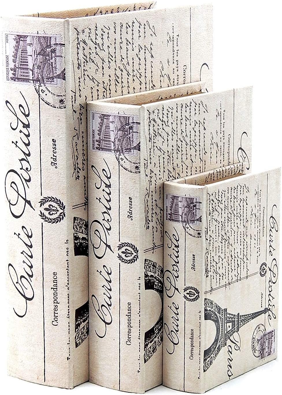 Bellaa 28069 Paris Book Box Eiffel Tower Set of 3