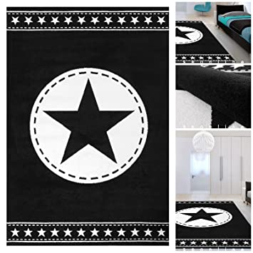 jugendzimmer teppich schwarz weiss mit exklusivem stern teppiche m ko tex geeignet auch - Jugendzimmer Schwarz Wei