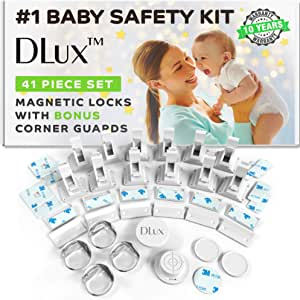 Magnetic Cabinet Locks Child Safety 41-Piece Kit with New Upgraded Adhesive [12 Magnet Locks 2 Keys 4 Corner Guards] Easy Installation No-Drill Baby Proofing Locks to Childproof Cabinets & Drawers