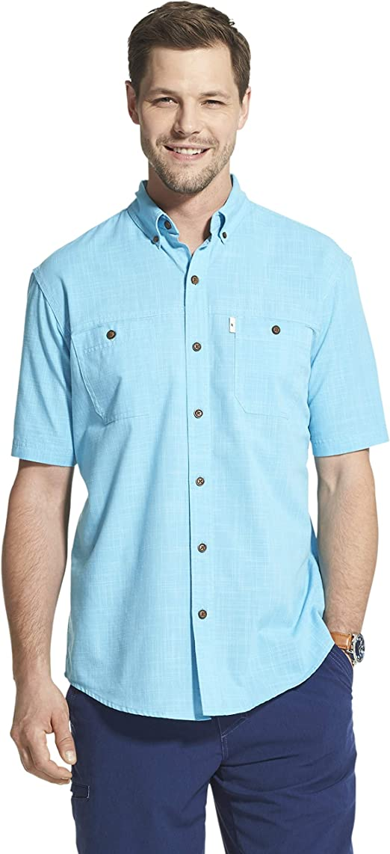 Men Crosshatch Denim Shirt Short Sleeve Collar Neck Cotton Casual Shirts Top