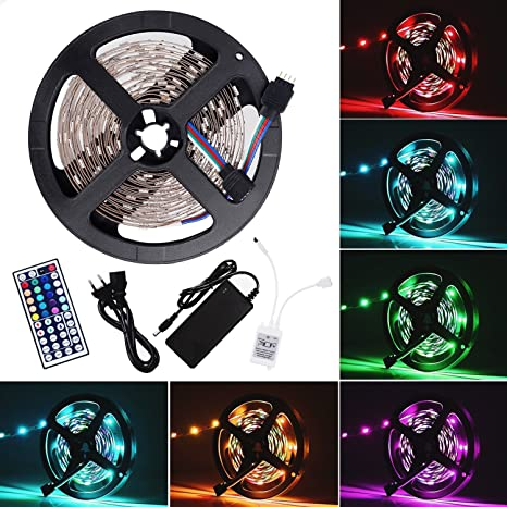 5m 5050 RGB LED Strip Streifen SMD Leuchte Lichterkette Fernbedienung Controller