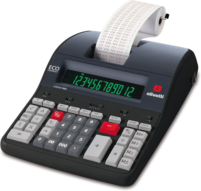 Olivetti LOGOS 902 - Calculadora sobremesa impresión con 12 dígitos y pantalla LCD