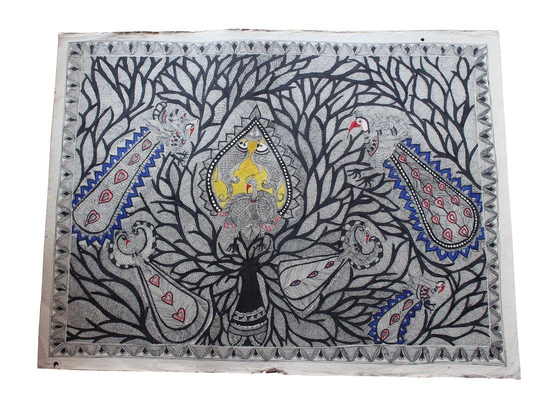Gerahmte Kunst von Pfauen und Fischen Handgemachte Madhubani Malerei ...