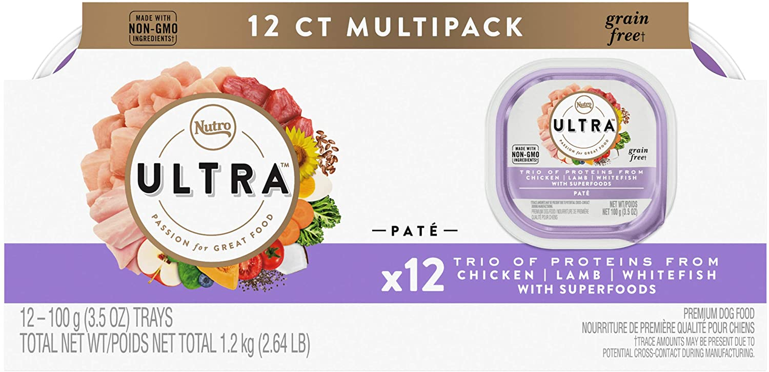 NUTRO ULTRA Adult Grain Free Soft Wet Dog Food, Trio of Proteins Chicken, Lamb & Whitefish Paté, (12) 3.5 oz. Trays