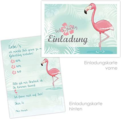10 Einladungskarten Zum Kindergeburtstag Flamingo Poolparty Gartenparty Cocktailparty Einladungskarten Flamingo