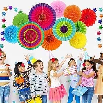 EDATOFLY 20 St/ück Party Dekoration Bunte Papier Pompoms Hanging Paper Fans Blume Honeycomb Balls Rainbow Glitter Punkt Girlande f/ür Hauptdekorationen Hochzeit Geburtstag Festival Weihnachten