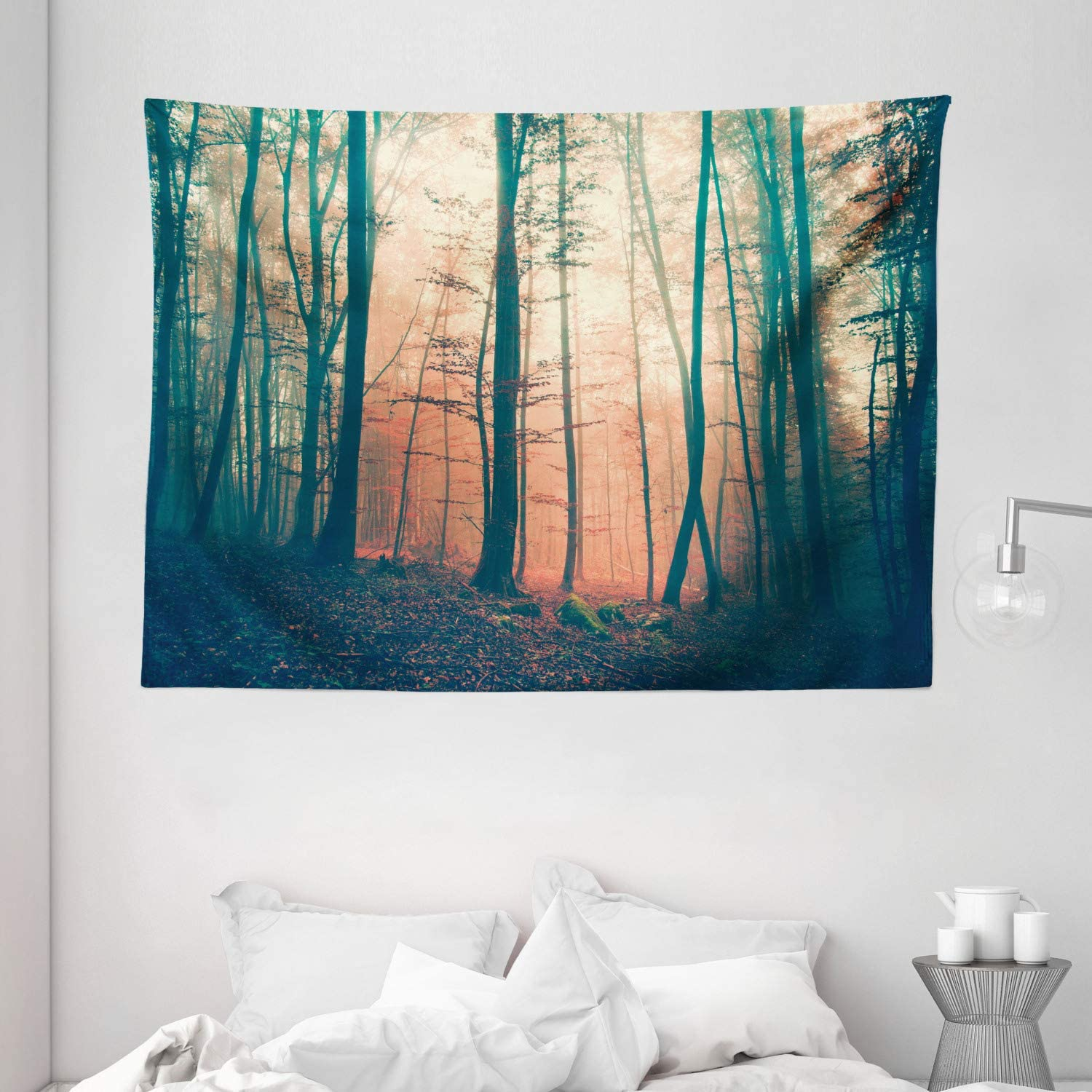 "Ambesonne Mystic Tapestry, Pale and Vintage Color in Mysterious Autumn Forest Woodland Nature Picture, Wide Wall Hanging for Bedroom Living Room Dorm, 80"" X 60"", Coral Green"