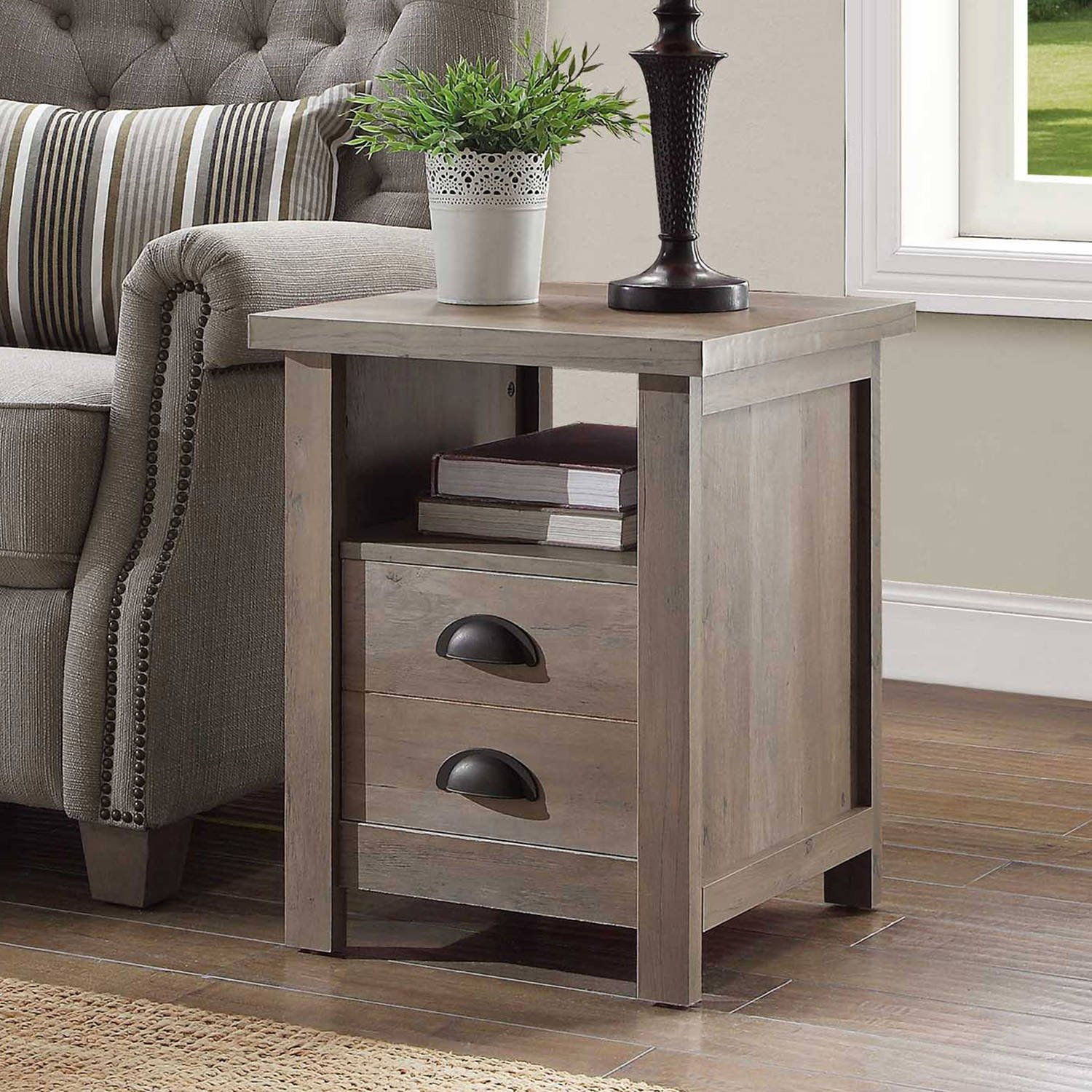 Simple Yet Stylish Sturdy End Table 1, Rustic Gray
