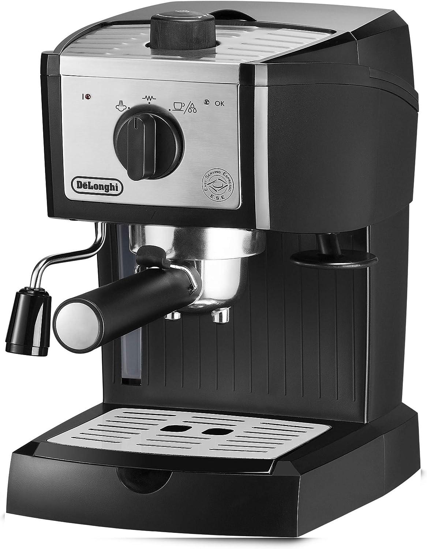 DeLonghi EC157 Independiente Máquina espresso Negro, Acero inoxidable 1 L 2 tazas - Cafetera (Independiente, Máquina espresso, 1 L, Dosis de café, De café molido, 1100 W, Negro, Acero inoxidable): Amazon.es: Hogar