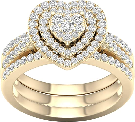 3.00 Ct Marquise Cut Diamond 14k Yellow Gold Over Womens Cluster Engagement Ring