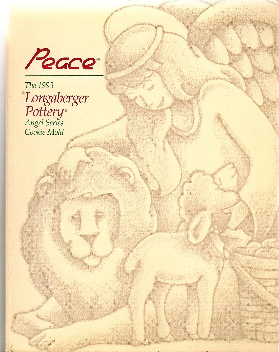 Longaberger Pottery Cookie Mold: 1993 Angel Series - Peace