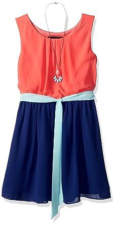 761240cb9c678 Amy Byer Girls' Big Sleeveless Blouson Dress, Coral/Navy/Mint Sash,