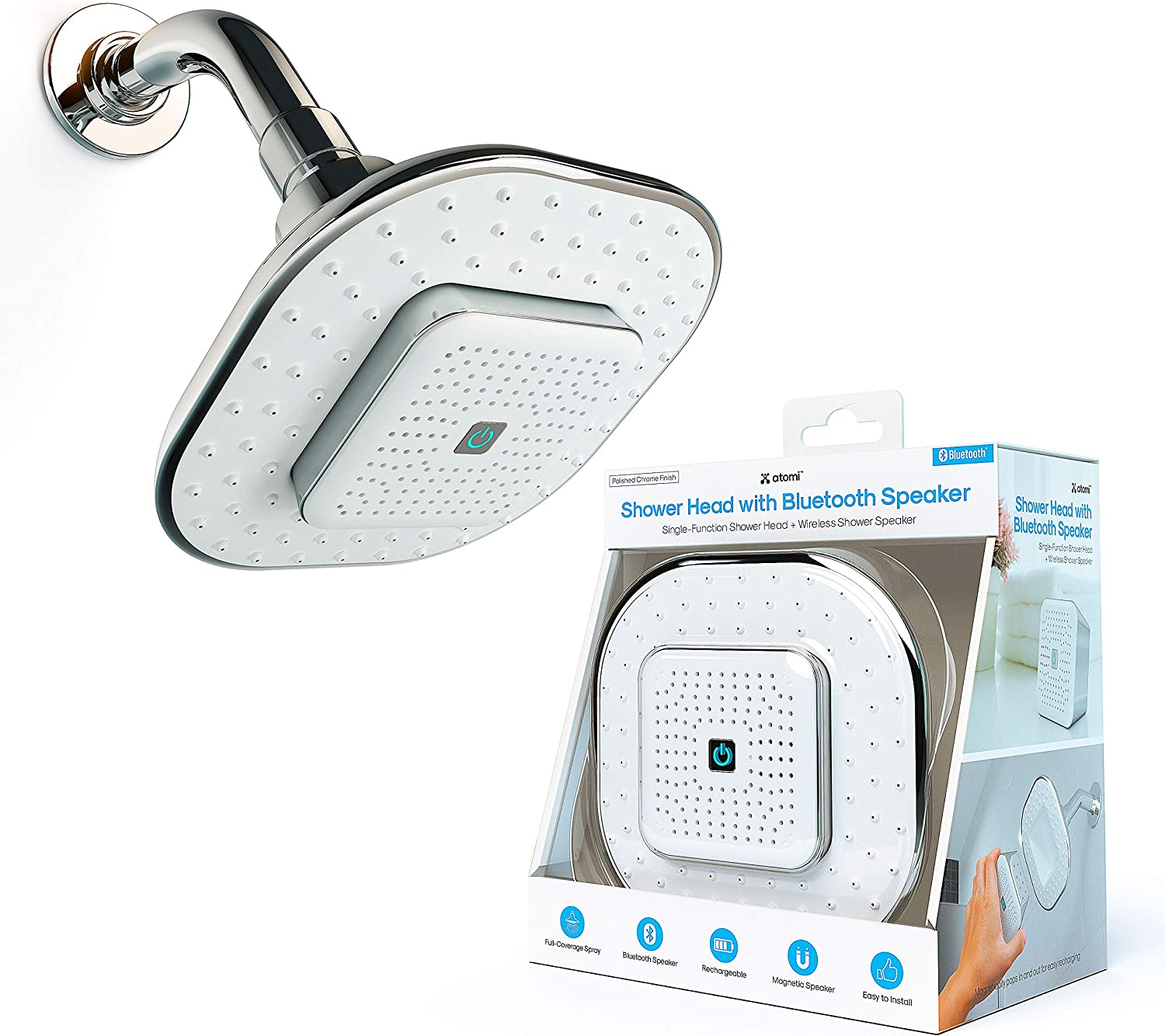 Atomi Shower Head with Bluetooth Speaker - Wireless, Detachable, Portable - with Microphone to Answer Phone Calls - Full-Coverage Spray Nozzle Showerhead for Bathroom - Rechargeable Battery