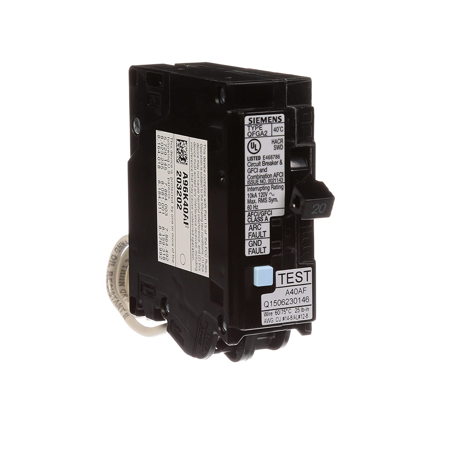 Siemens Q120df 20 Amp Afci Gfci Dual Function Circuit Breaker Plug Standards And Description Of Circuitbreakers Electrical On Load Center Style