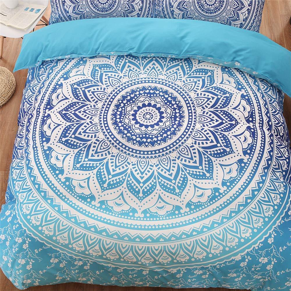 Azul, 150 /× 220cm- Cama 90cm QTBT Juego de Funda n/órdica Mandala de la Ropa de Cama Bohemia Juego de Funda n/órdica de la Ropa de Cama para Juego de Funda de edred/ón con Fundas