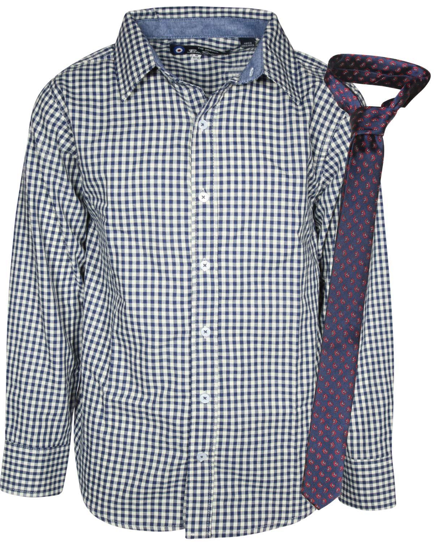 Ben Sherman Boys Long Sleeve Shirt Tie Set, White Plaid, Size 5' by Ben Sherman (Image #2)