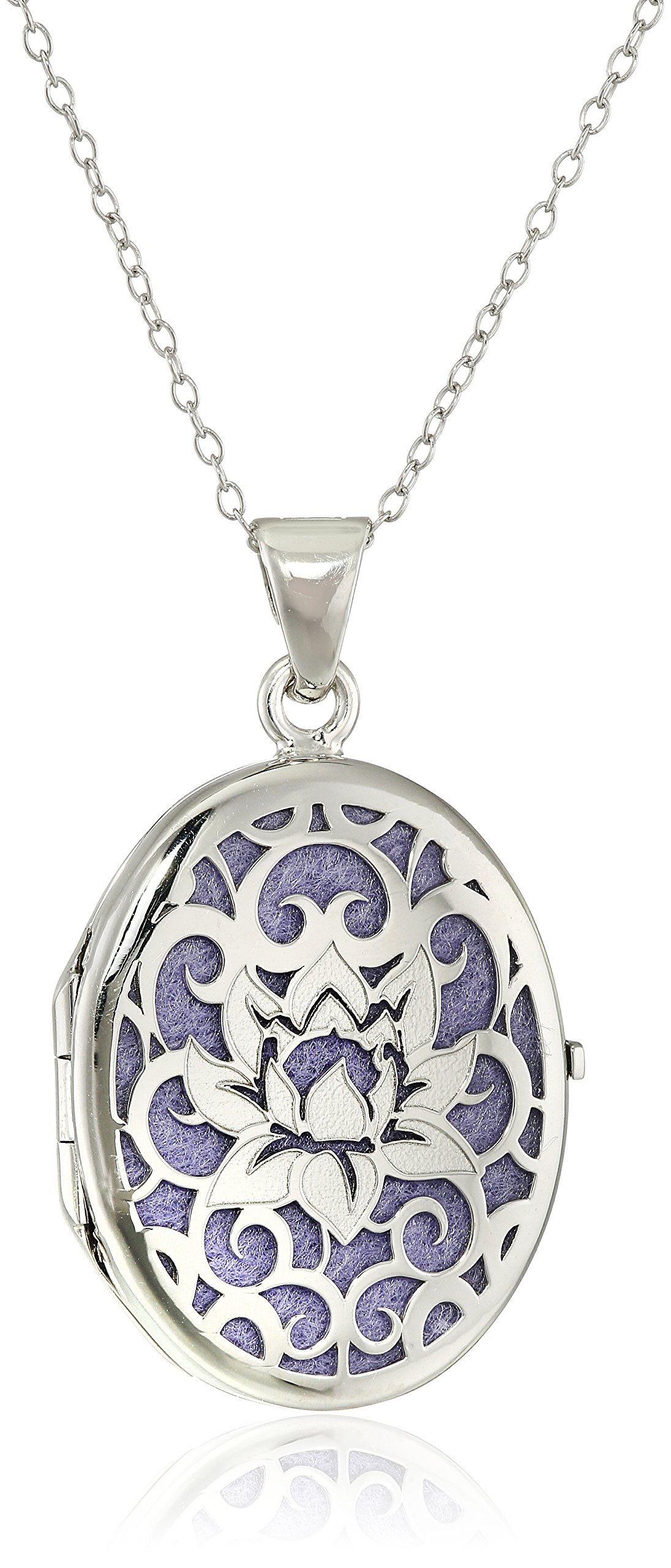 Italian Sterling Silver and Purple Lotus Flower Locket Necklace, 18''