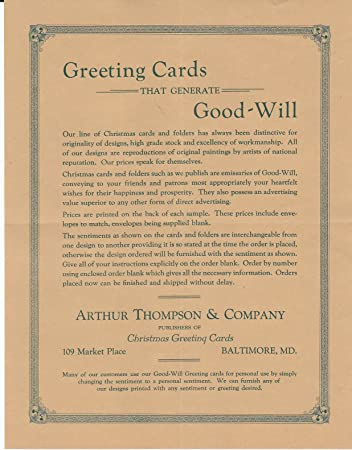 amazon com arthur thompson co baltimore md greeting card cover