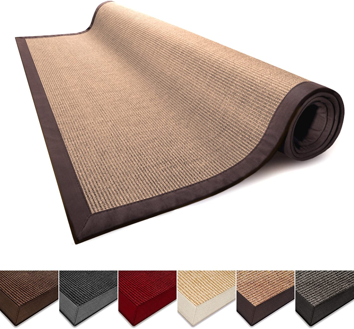 casa pura Sisal Rug Runner - 100% Natural Fiber Area Rug | Non-Skid Rustic Entryway Rug, Living Room Carpet or Kitchen Rugs and Sizes | Cork - 4' x 6'