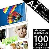 Confezione 100 fogli Carta fotografica Adesiva A4 Premium foto Glossy Lucida 115 gr. per Stampanti INKJET e LASER 210x297 mm