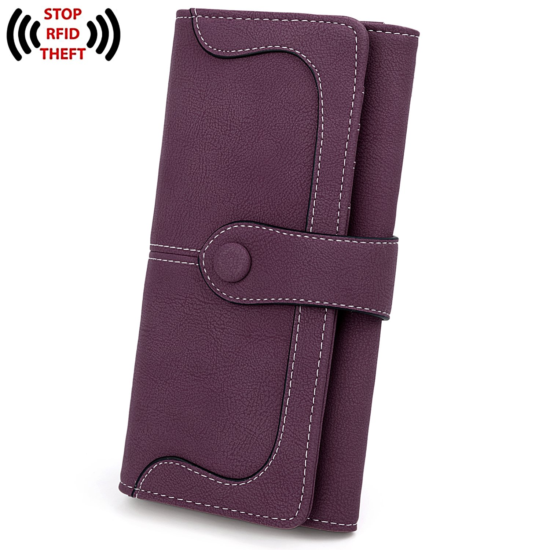 UTO RFID Wallet for Women Vegan Leather 18 Card Slots Card Holder Long Bifold Checkbook 5.5'' Phone Blocking Tech Wallet Purple