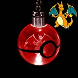 Assortmart Pokemon Crystal Poke Ball Night Light Ring LED Keychain with Soft Cleaning Cloth (Charizard)