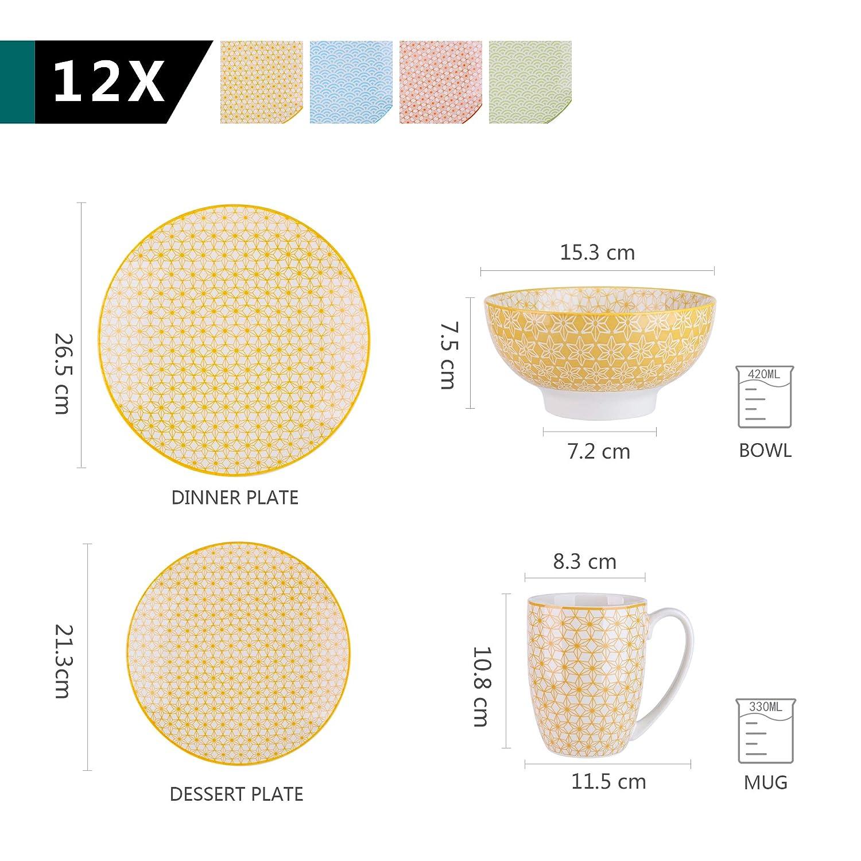 Ciotole per Cereali vancasso Natsuki Servizio Piatti Set 16 Pezzi Tazza da caff/è Piatti Piatto Servizio da Tavola per 4 Persone in Porcellana Multicolore Stile Giapponese con Piatti da Dessert