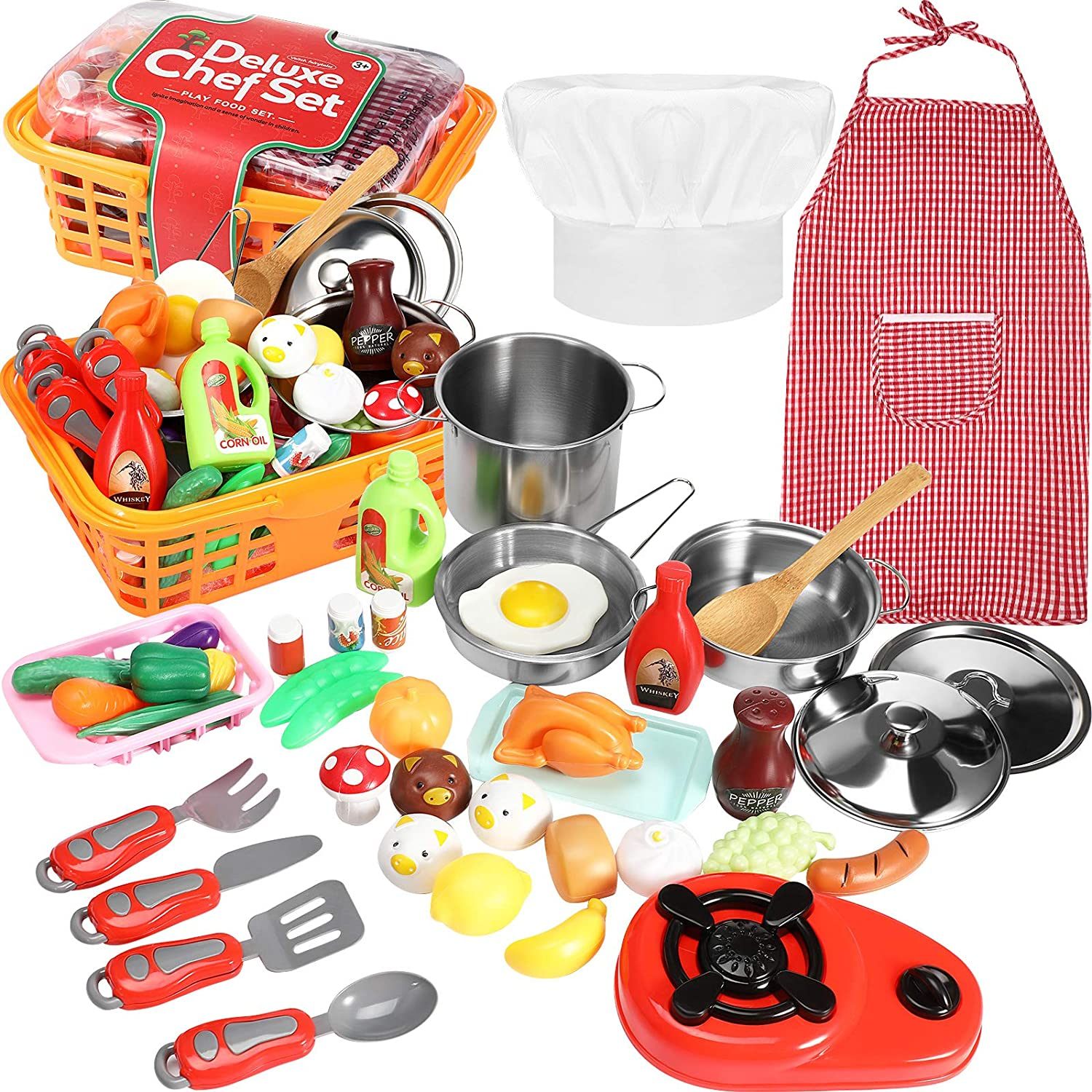 42 Pieces Kitchen Pretend Cookware Play, Mini Kitchen Tools Play Set Includes Cooking Utensils Stainless Steel Pots and Pans Set Apron Chef Hat Plastic Food Vegetables Fruits for DIY Handmade