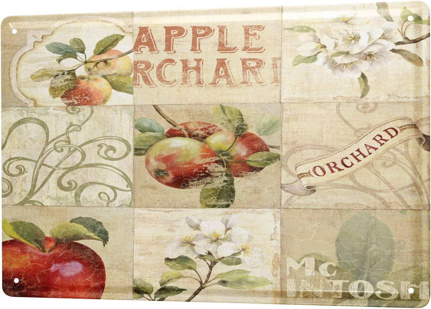 LEotiE SINCE 2004 Tin Sign Metal Plate Decorative Sign Home Decor Plaques Plants Decoration Apples Apple Blossom Orchard 8X12