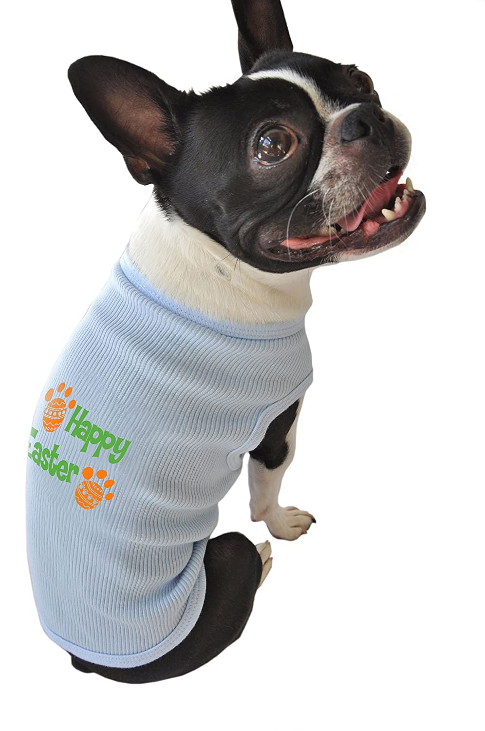 Ruff Ruff and Meow Extra-Small Dog Tank Top, Happy Easter, bluee
