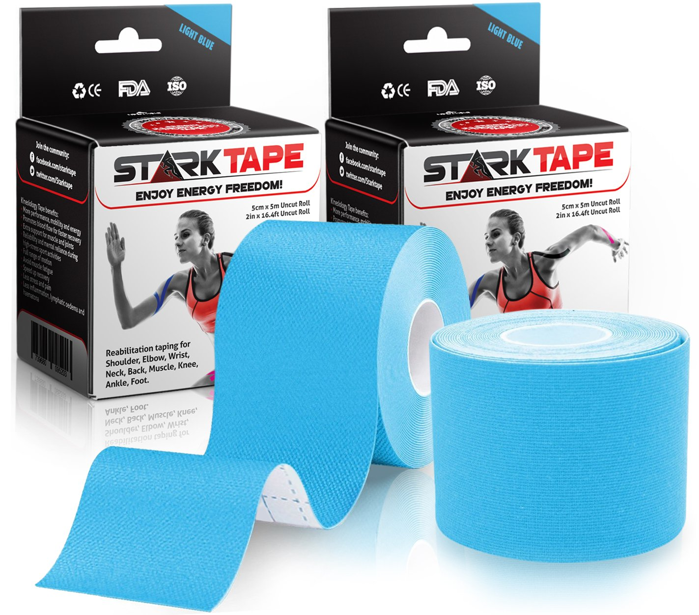 Starktape Kinesiology Tape | Designed to Help Boost Athletic Performance, Prevent Joint, Muscle Pain and Ease Inflammation | Easy to Apply, 97% Natural Cotton/3% Spandex (Blue 2 pack)