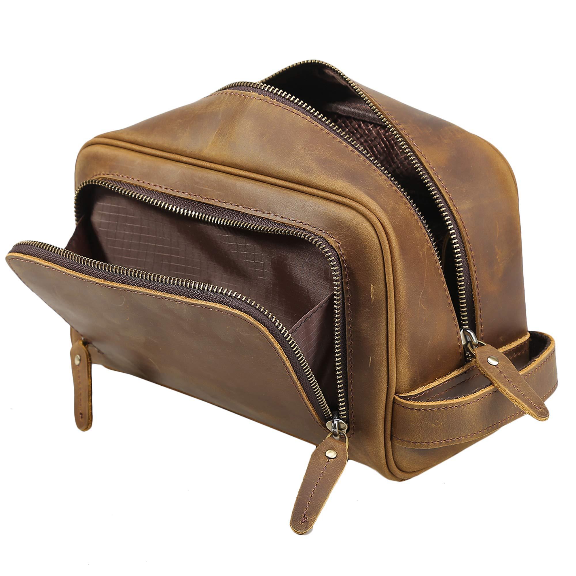Polare Vintage Full Grain Leather Handmade Travel Toiletry Bag for Men - Dopp Kit - Shaving Kit by POLARE ORIGINAL (Image #4)