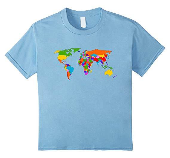 Amazon.com  Kids World Map T-Shirt. Boys   Girls Map of the World ... f2284efe89