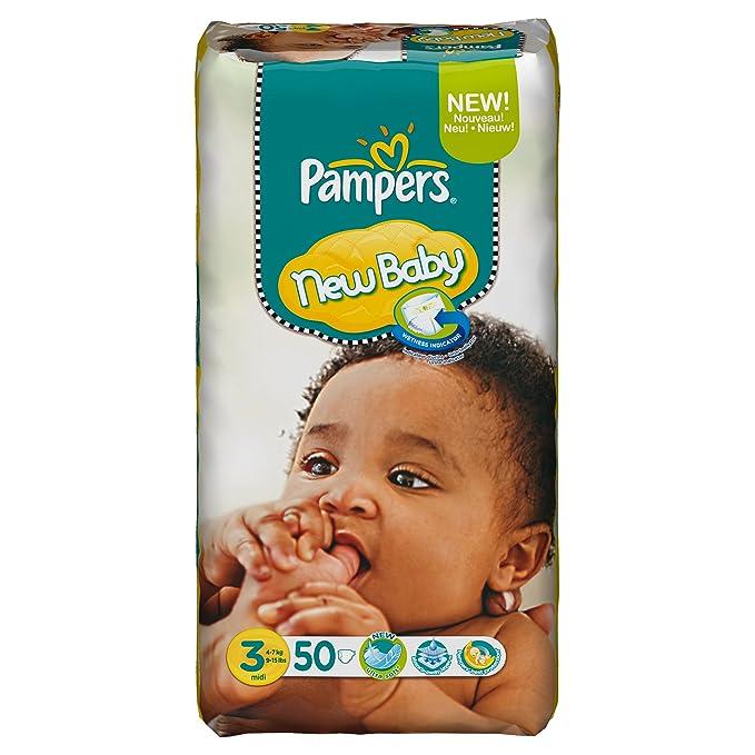 Pampers - 81367669 - New Baby Pañales - Talla 3 - 4 - 7 kg - formato gigante X 50 Pañales: Amazon.es: Salud y cuidado personal
