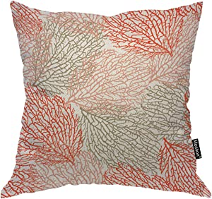 Moslion Throw Pillow Cover Sea Life Theme 18x18 Inch Ocean Outdoor Coral Bright Cheerful Summer Pattern Nature Square Pillow Case Cushion Cover for Home Car Decorative Cotton Linen