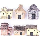 LeBeila Miniature Fairy Garden Stone Houses, 6 Mini Cottage House Miniatures Decor Accessories Fairies Gardening…