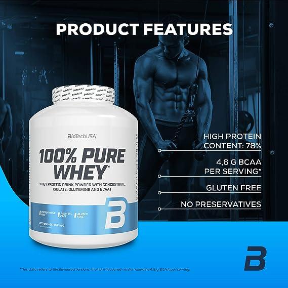 BioTechUSA 100% Pure Whey Complejo de proteína de suero, con aminoácidos añadidos y edulcorantes, sin conservantes, 2.27 kg, Chocolate