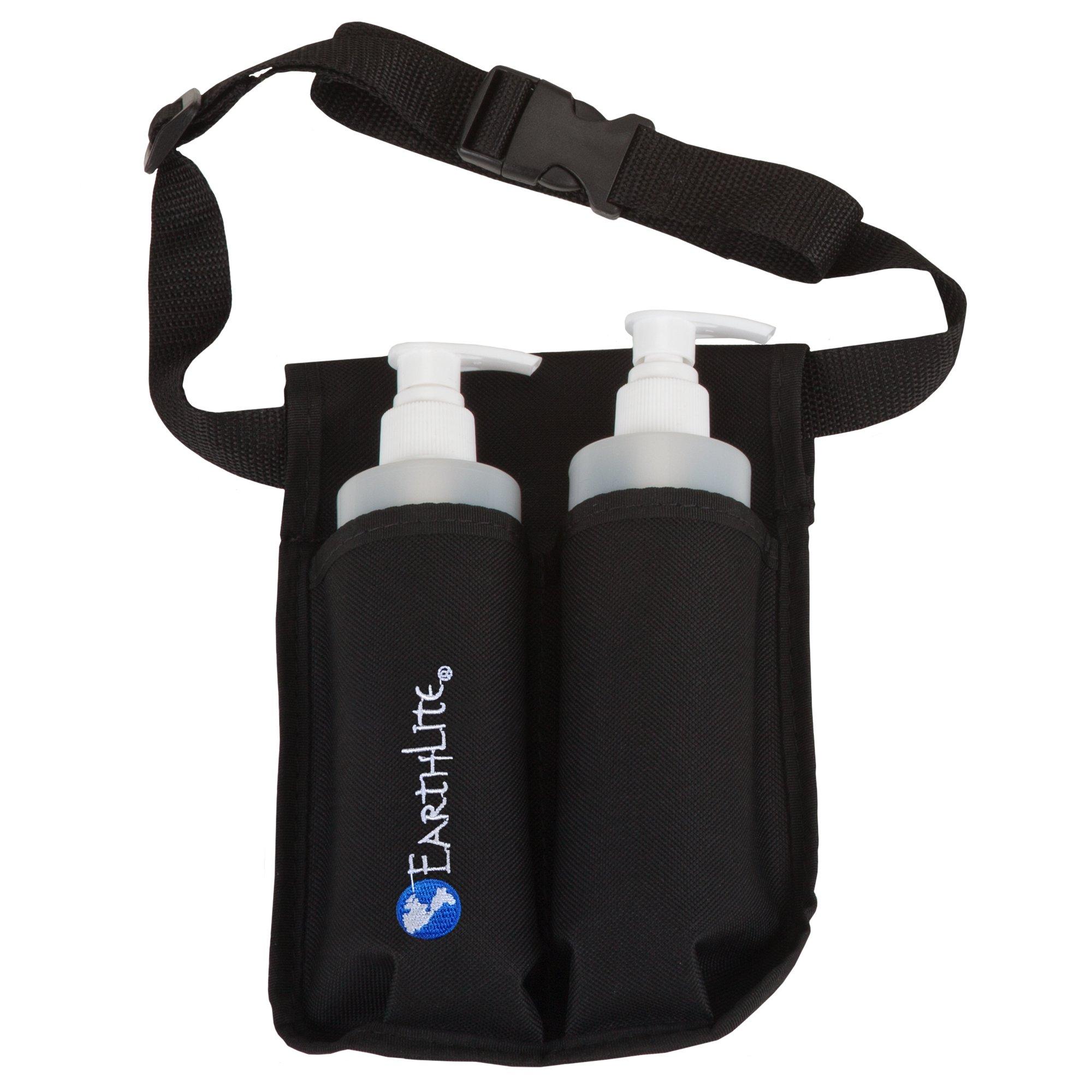 EARTHLITE Massage Bottle Holster Double Kit - Incl. 2 Bottles & Heavy Duty, Adjustable Double Holster for Massage Oil, Massage Lotion (2x 8oz)