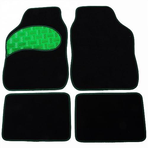 Auto Fußmatten/Auto Matten, Stoff Teppich mit PVC, Universal passend, 4-teilige Riffelblech, rutschfest, Luxus Design P01 (Schwarz/Grün)