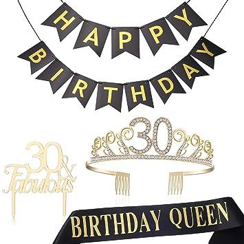 Amazon.com: BABEYOND30th Tiara de cumpleaños y salpicadero ...