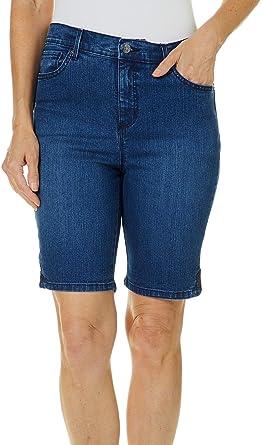 b3ce0b5008 Gloria Vanderbilt Petite Amanda Button Hem Bermuda Shorts at Amazon Women's  Clothing store:
