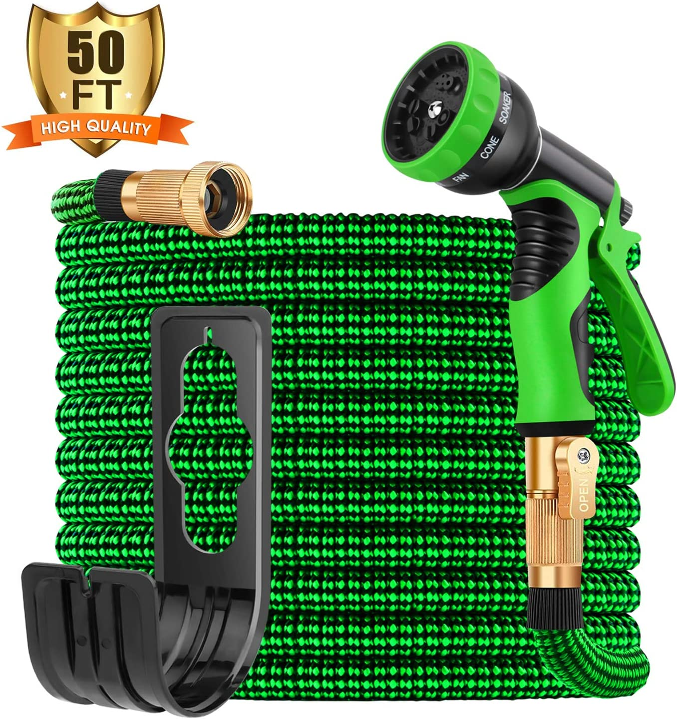 "Sunrich Expandable Garden Hose 50ft Expanding flexible Water Hose retractable with 9 Function Spray Nozzle Lightweight Durable 3750D Latex Core 3/4"" Solid Brass Connectors for Gardening"