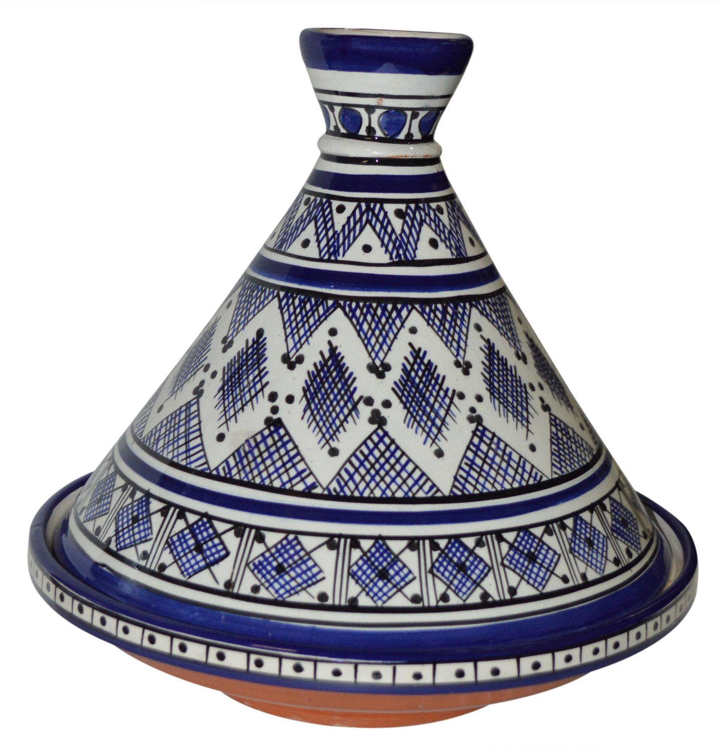 Moroccan Handmade Serving Tagine Exquisite Ceramic With Vivid colors Traditional 12 inches Diameter by Serving Tagines