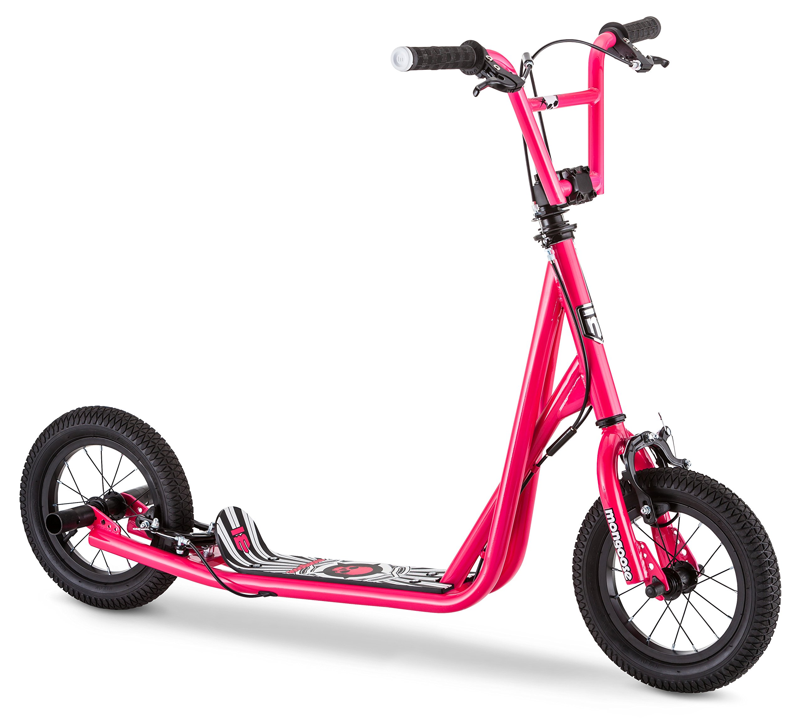 Mongoose Expo Scooter, Featuring Front and Rear Caliper Brakes and Rear Axle Pegs with 12-Inch Inflatable Wheels, Pink/Black