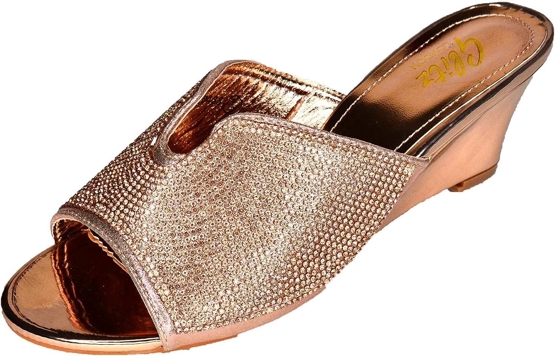 Diamante Slip on Wedges Low mid Heel