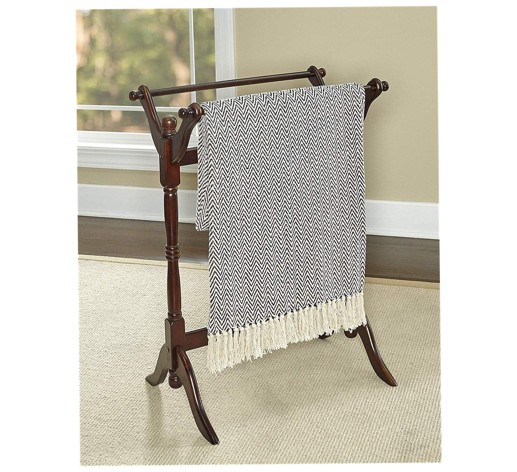 Wood & Style Furniture Heirloom Cherry Blanket Rack Home Office Commerial Heavy Duty Strong Décor