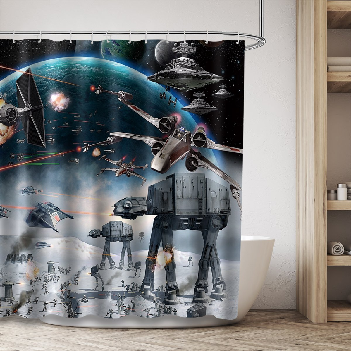 LIGHTINHOME Stormtroopers In Star War Movie Shower Curtain Panel White And Black Soldier Decor Fabric Bathroom Set Polyester Waterproof 72x72 Inch With 12-Pack Plastic Shower Hooks by LIGHTINHOME