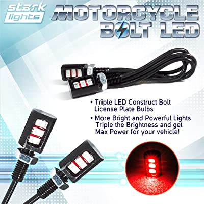 Car/Motorcycle License LED Bolt Screw - Triple Row SMD - High Power License Plate LED Light - Red: Automotive