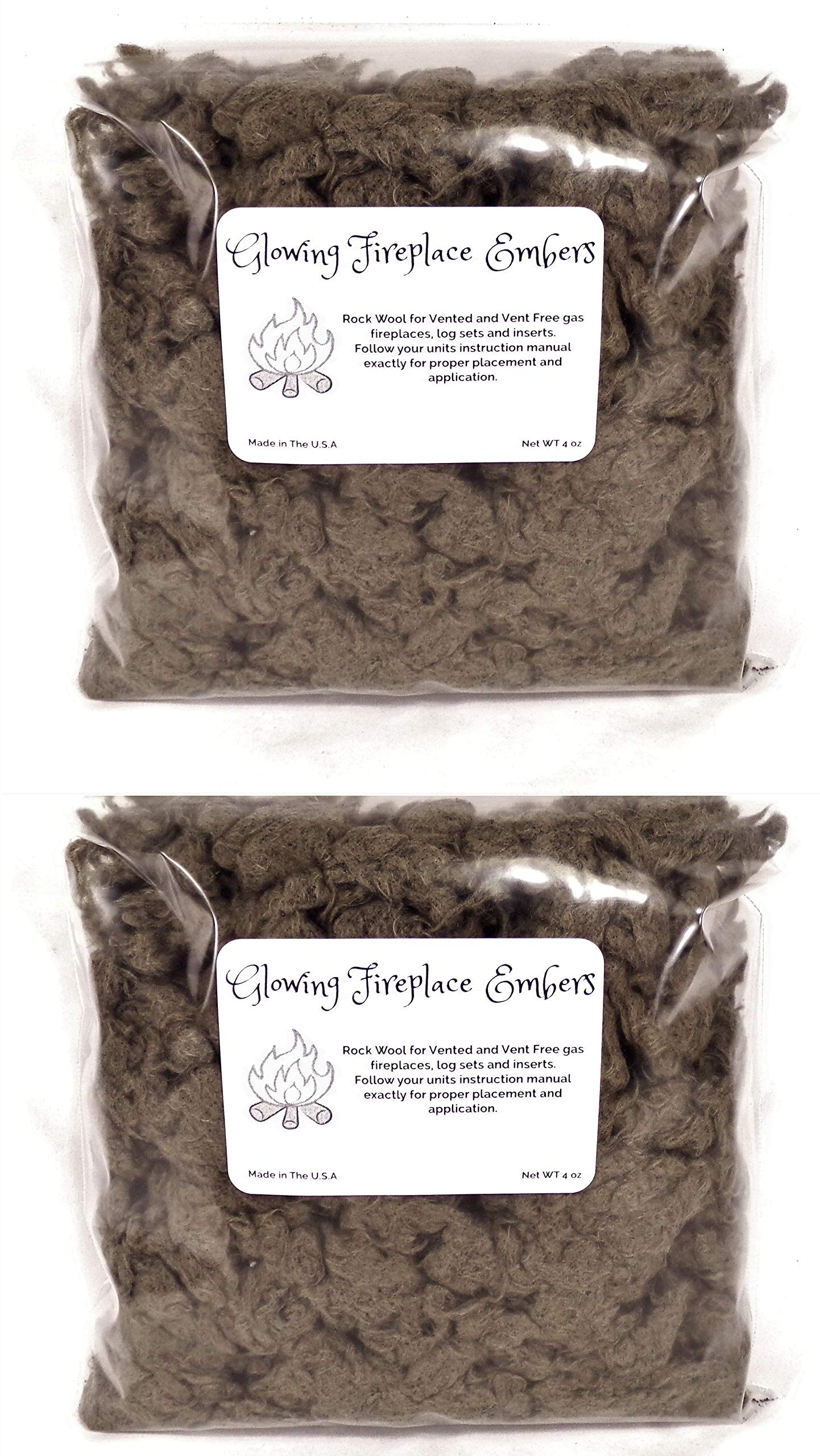 Gas Fireplace Glowing Embers, Rock Wool for Vent Free or Vented Gas Log Sets, Inserts and Fireplaces. 2- Large 4 Oz. Bags, 8 Ounces Total by FP Accessories